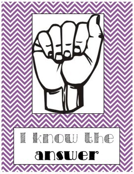 Silent Hand Signal Posters for the Classroom (Purple & Teal Chevron)