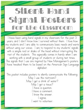 Silent Hand Signal Posters for the Classroom (Green & Blue Stripes)