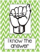Silent Hand Signal Posters for the Classroom (Green & Pink Chevron)