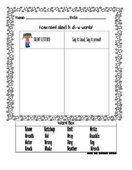 Silent Kn/Wr word sorts