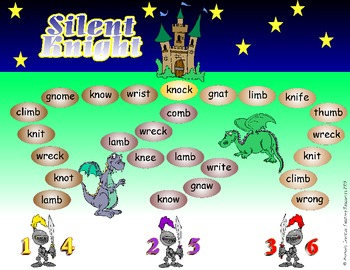 Silent Knight Game + Activity Sheets {Silent Letter Blends}