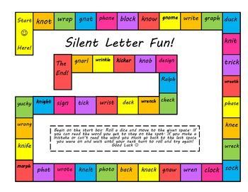 Silent Letter Digraph Game (ck, kn, gn, ph, and wr)