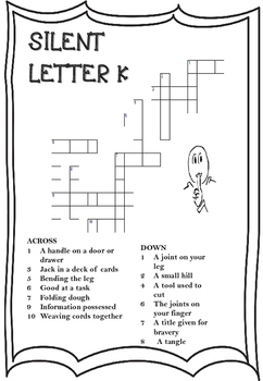 Silent Letter K Crossword Worksheet