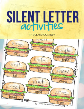 Silent Letter Activities & Worksheets, kn, wr, mb, gn, 2nd Grade Phonics