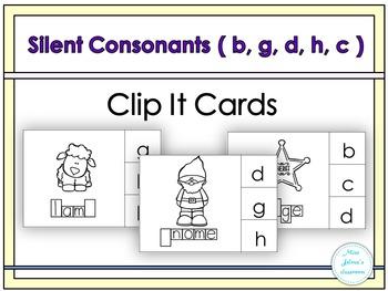 Silent Letters Clip It Cards ( b, g, d, c, h)