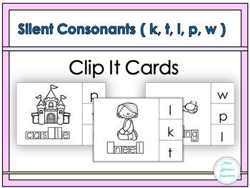 Silent Letters Clip It Cards ( k, t, l, p, w)