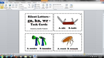 Silent Letters - GN KN WR - Task Cards - Common Core RF.3.3