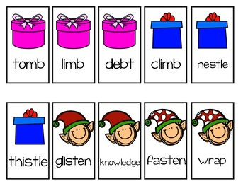 Silent Letters Game (Help the Elves Wrap the Christmas Presents)