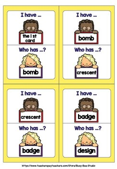 "Silent Letters Game ""I have, who has"""