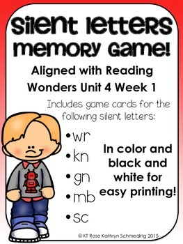 Silent Letters Memory Game---Aligned with Reading Wonders Unit 4 Week 1