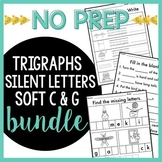 NO PREP Trigraphs TCH DGE, Silent Letters, Soft C Soft G Word Work BUNDLE