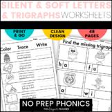 NO PREP Trigraphs TCH DGE, Silent Letters, Soft C Soft G Word Work BUNDLE
