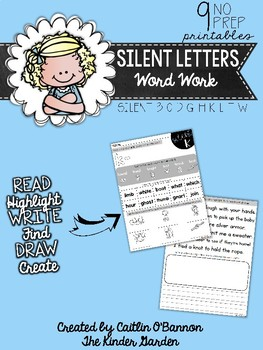 Silent Letters Word Work Printables