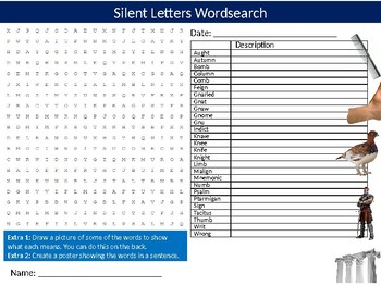 Silent Letters Wordsearch Puzzle Sheet Activity Keywords English Vocabulary