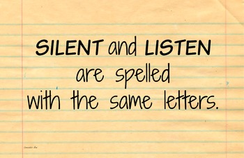Silent-Listen 11x17 Classroom Poster Photo Back to School