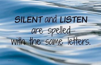 Silent-Listen 11x17 Classroom Poster Photo Back to School Classroom Management