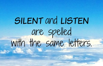 Silent-Listen 11x17 Classroom Poster Photo Back to School Classroom Management
