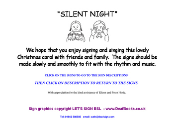 Silent Night Christmas Song with BSL Signs (British Sign Language)