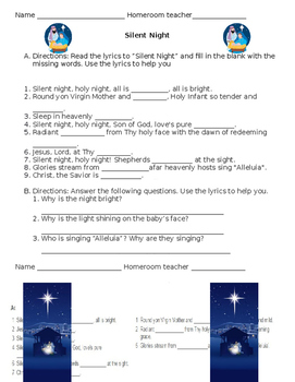 Silent Night worksheets