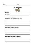 Book Report Worksheet, Independent Reading Book Report Template, Silent Reading