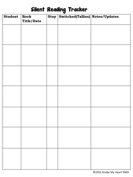 Silent Reading Checklist-FREE