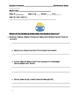 Silent Reading Conference Form