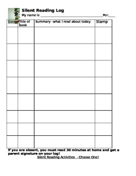 Silent Reading Log with Book Project Choices