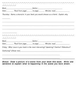Silent Reading Summary Sheet