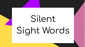 Silent Sight Words - Paired Learning - Pre-Primer Level