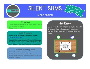 Silent Sums:  Slope Edition  (Cooperative Activity for 8th Grade)