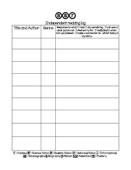 Silent Sustained Reading Log