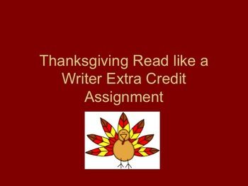 Thanksgiving Reading and Writing Activity