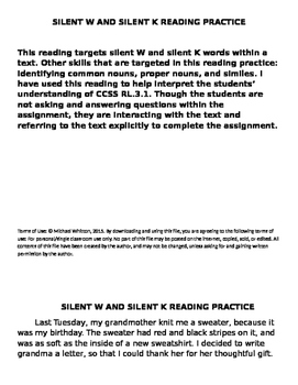 Silent W and silent K reading practice