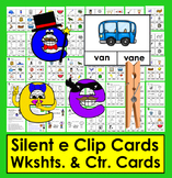 Silent e Clip Cards - 48 Cards & 8 Silent e Worksheets - Color & BW