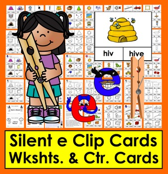 Phonics:  Silent e - 48 Clip Cards in Color & Blackline
