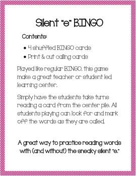 "Silent ""e"" BINGO"