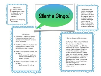 Silent e Bingo for RTI and Small Group
