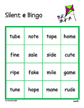 Silent e Bingo - whole class set