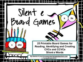 Phonics Games: Silent e Games: 25 Printable Phonics Board Games