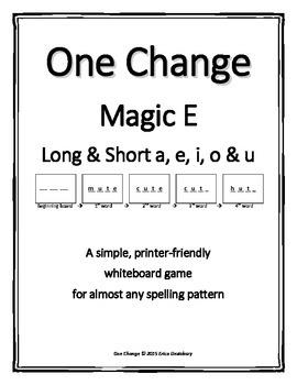 "Silent e / Magic e- ""One Change Whiteboard Game (CVCe with CVC)"