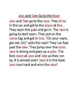 Silent e Story- Jace and Tate go to the Race