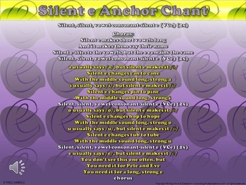 Silent e (VCe) Song - Anchor Chart and Chant Audio - King Virtue
