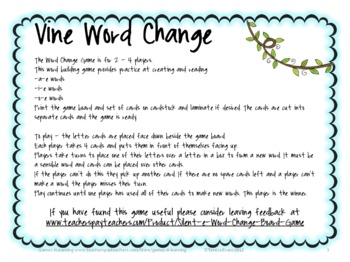 Silent e Word Change Board Game