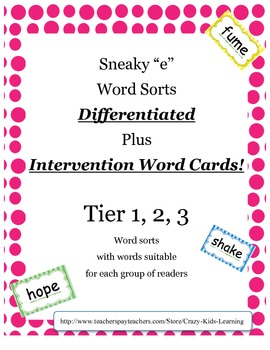 """Sneaky """"e"""" Word Sort - cut and paste ***Differentiated***Free Limited Time!"""