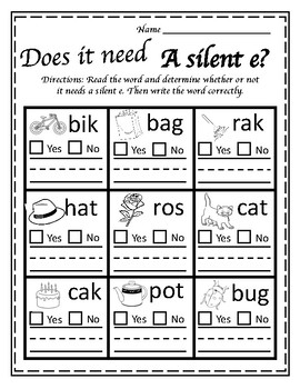 Silent e Worksheet by Living to Learn and Teach   TpT
