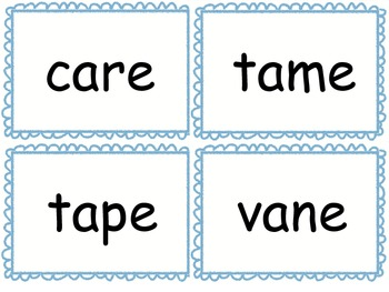 Silent e (cvce) Flash Cards for Drill or Games