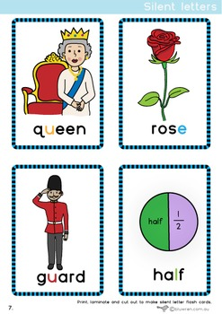 Silent letter word cards