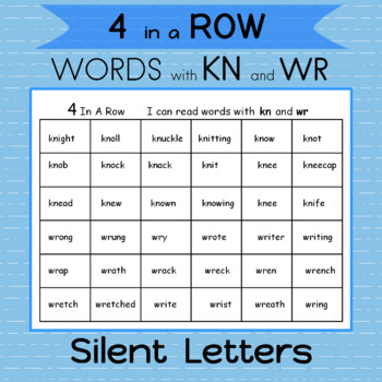 Word Work Silent letters kn and wr 2 Games   Roll the dice and read  4  In a Row