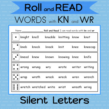 word work silent letters kn and wr 2 games roll the dice and read 4 in a row. Black Bedroom Furniture Sets. Home Design Ideas
