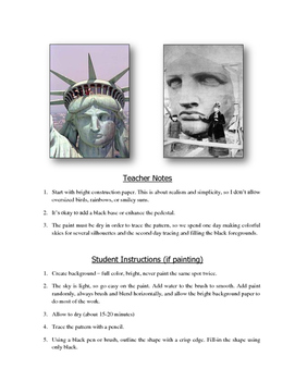 ART LESSON | Statue of Liberty Silhouette Printable Templates (Gr. 2-6)